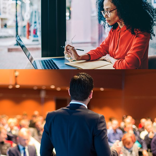 2 images. 1 image of woman on her laptop. the other of a man speaking to a crowd.