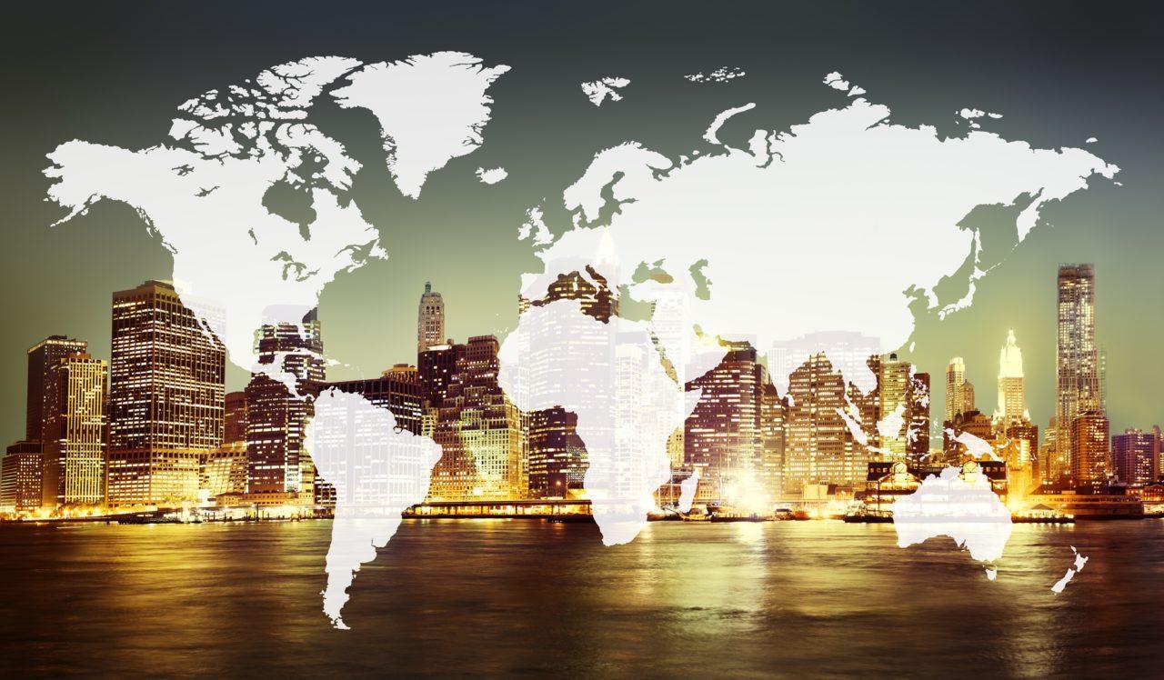 International Map over New York skyline